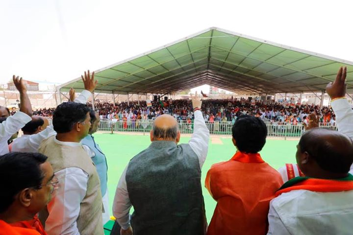 ‪Addressed a public meeting in Shamshabad, Telangana. ‬  ‪Wherever i go, I see huge support for PM Narendra Modi. The people of India are all set to bless Modi ji again with absolute majority.‬