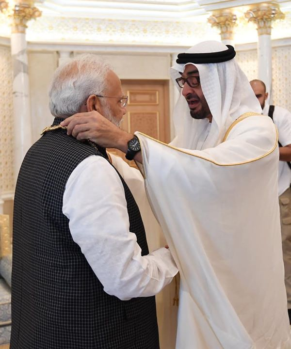 Conferring of the 'Order of Zayed', the UAE' highest civil decoration on PM Narendra Modi ji is yet another recognition of his stature as a World leader with a global vision and strong will.‬  ‪Nations across the globe have felt the presence of a powerful #NewIndia under PM Modi.
