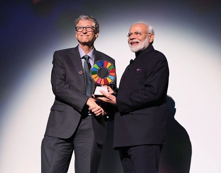 ‪The Global Goalkeeper Award conferred by the Gates Foundation to PM Modi is a recognition of New India's resolve for cleanliness under his leadership.‬  ‪I congratulate PM Narendra Modi for his relentless efforts in the field of sanitation and to make Swachhta a Sanskar in India.‬