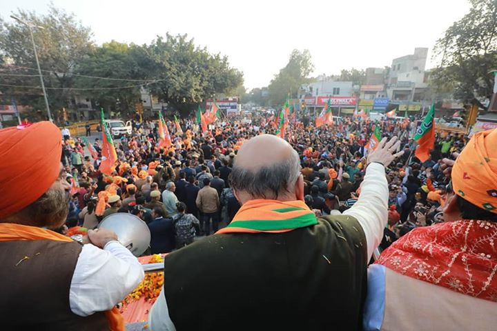 More pictures from the massive roadshow in Madipur. #BJP45PlusInDelhi