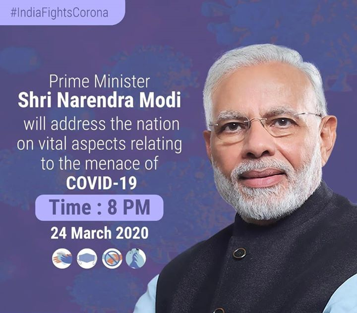 IMPORTANT!‬  ‪I appeal everyone to tune in to Prime Minister Shri Narendra Modi ji's address to the Nation tonight at 8PM on vital aspects relating to the menace of COVID-19. #IndiaFightsCorona
