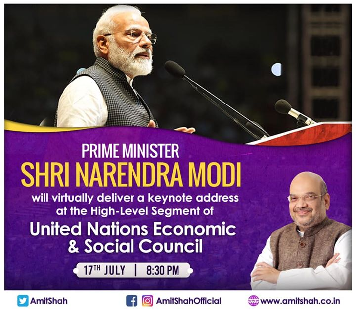 Do tune in to Prime Minister Shri Narendra Modi ji's virtual keynote address at the High-Level Segment of United Nations Economic & Social Council at 8:30 PM today.