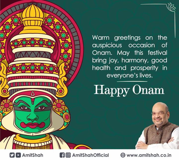 Warm greetings on the auspicious occasion of Onam. May this festival bring joy, harmony, good health and prosperity in everyone's lives.  Happy Onam!