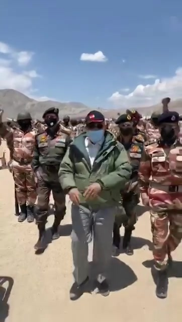 Leading from the front.  Prime Minister Shri Narendra Modi with our brave and courageous personnel of Army, Air Force & ITBP at a forward location in Ladakh.  This visit of honourable PM will surely boost the morale of our valorous soldiers.